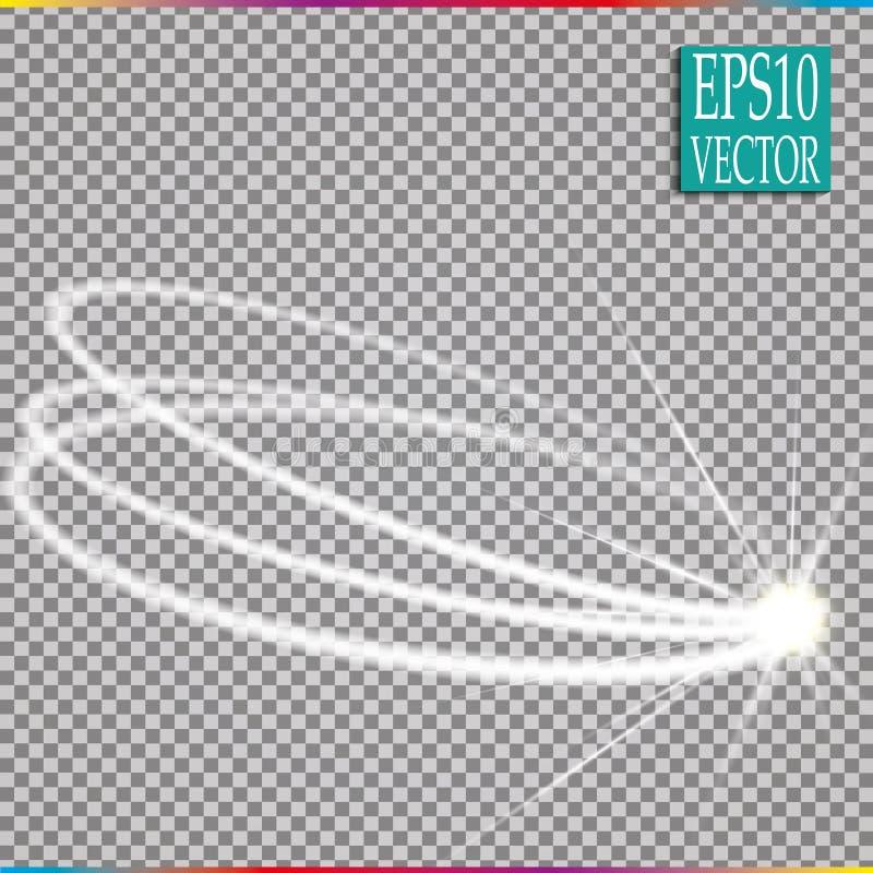 Insieme di effetto d'ardore magico della traccia di turbinio della scintilla su fondo trasparente Linea dell'onda di scintillio d immagini stock