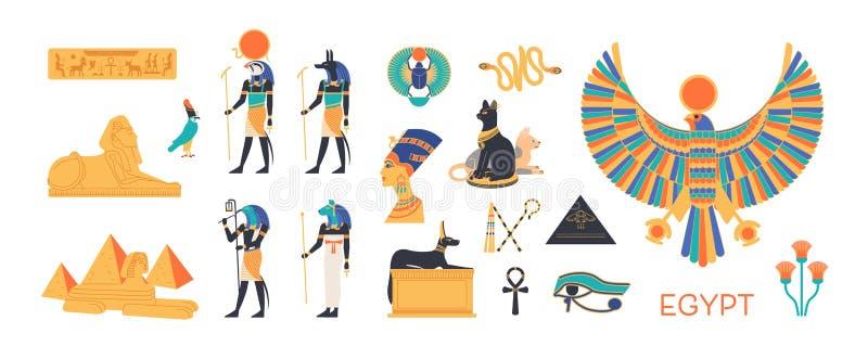 Insieme di egitto antico - dei, divinità del panteon egiziano, creature mitologiche, animali sacri, simboli santi illustrazione vettoriale