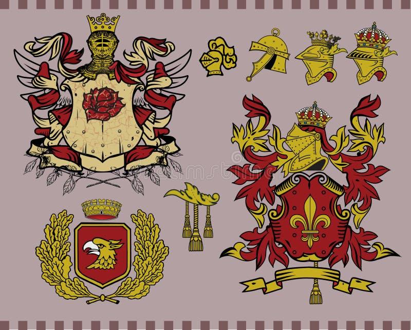Insieme di elementi araldico 15 royalty illustrazione gratis