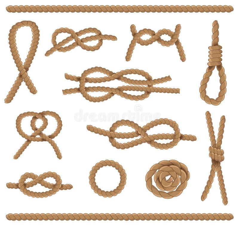 Insieme di elementi astratto della corda La iuta Ropes con il nodo di scogliera isolato su fondo bianco Illustrazione di vettore illustrazione vettoriale