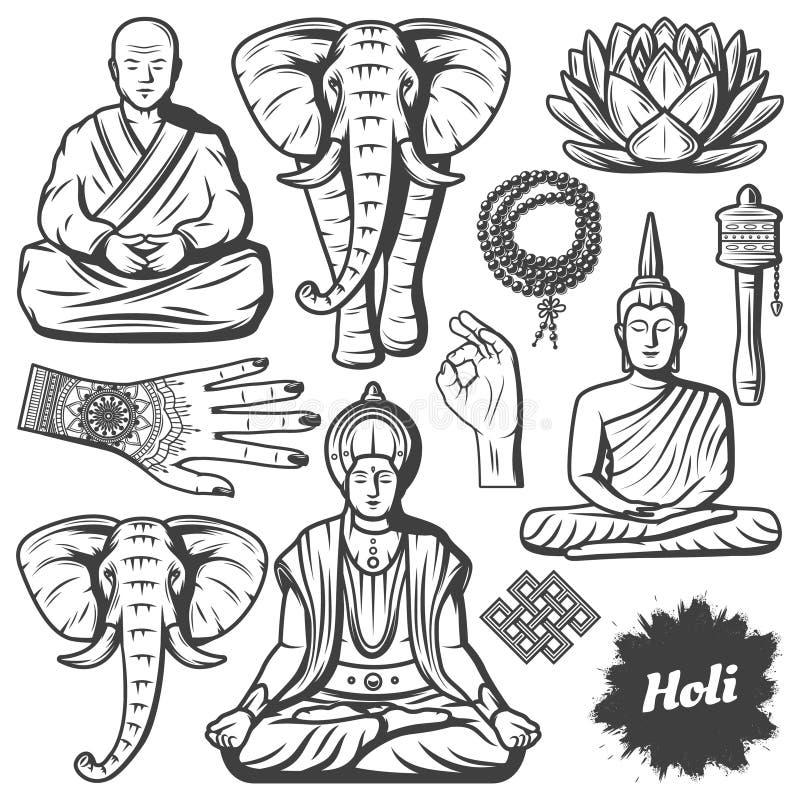 Insieme di elementi d'annata di religione di buddismo illustrazione di stock