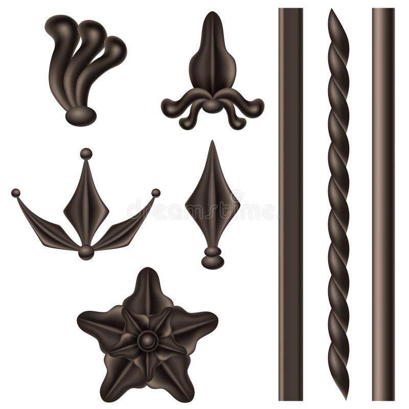 Insieme di elementi del ferro battuto illustrazione vettoriale