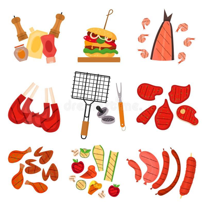 Insieme di elementi del fumetto della griglia del barbecue illustrazione vettoriale