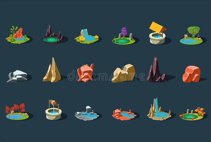 Insieme di elementi del paesaggio di fantasia, piante, pietre, pozzo, stagno, lago, dettagli per il vettore dell'interfaccia del  illustrazione di stock