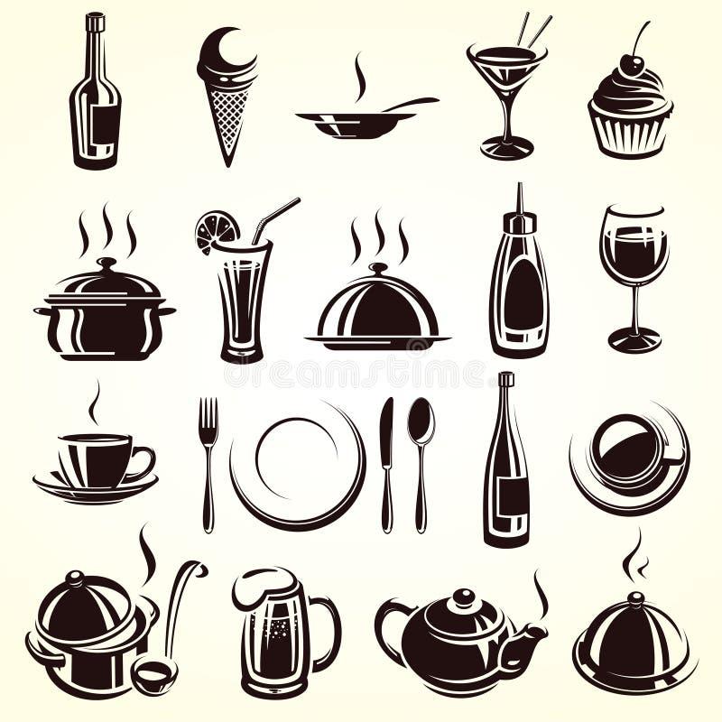 Insieme di elementi del ristorante illustrazione di stock