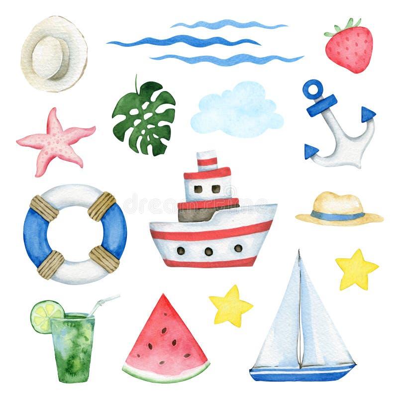 Insieme di elementi dell'acquerello di estate del mare illustrazione di stock