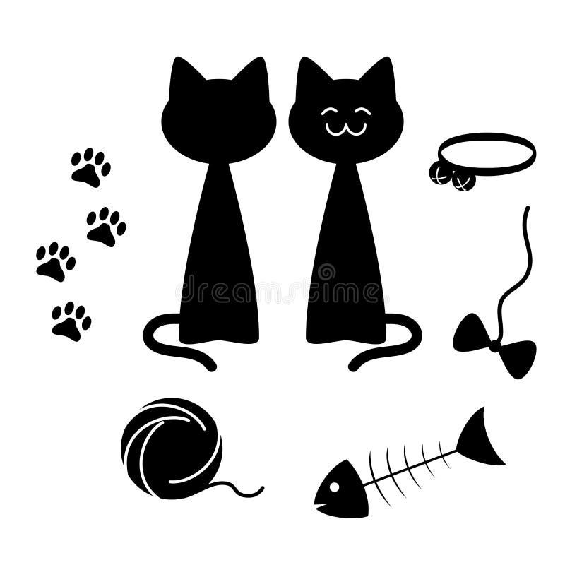Insieme di elementi della siluetta di tema dei gatti, illustrazione di vettore illustrazione vettoriale