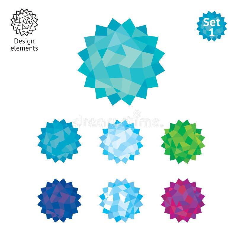 Insieme di elementi di disegno - cristallo fotografia stock