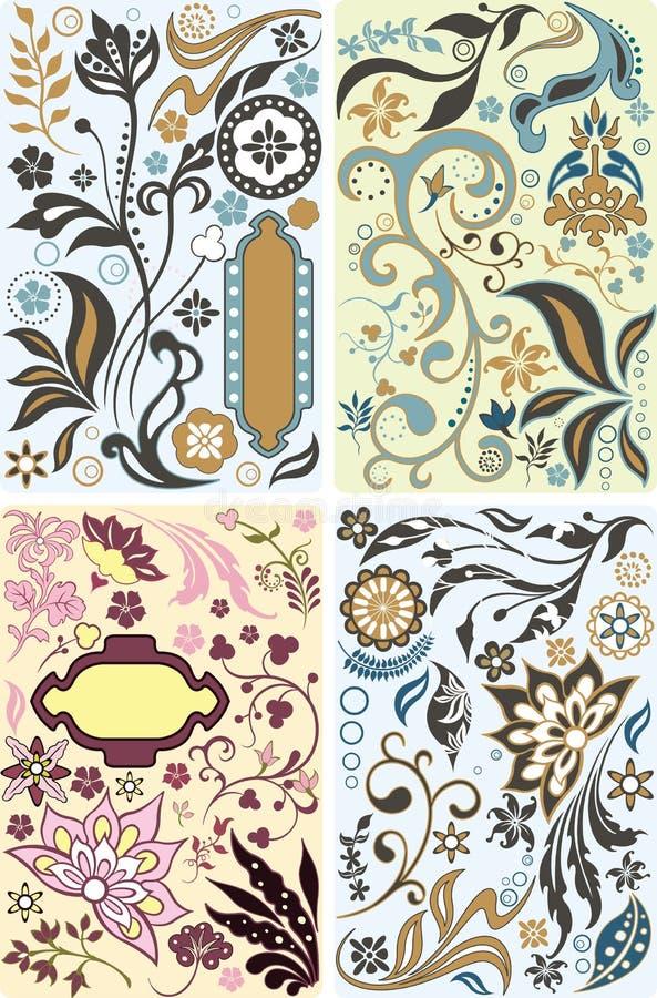 Insieme di elementi di disegno floreale illustrazione di stock