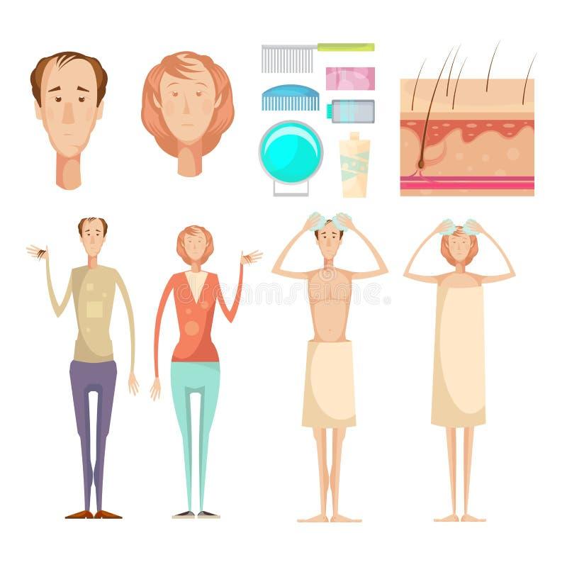 Insieme di elementi di perdita di capelli illustrazione di stock
