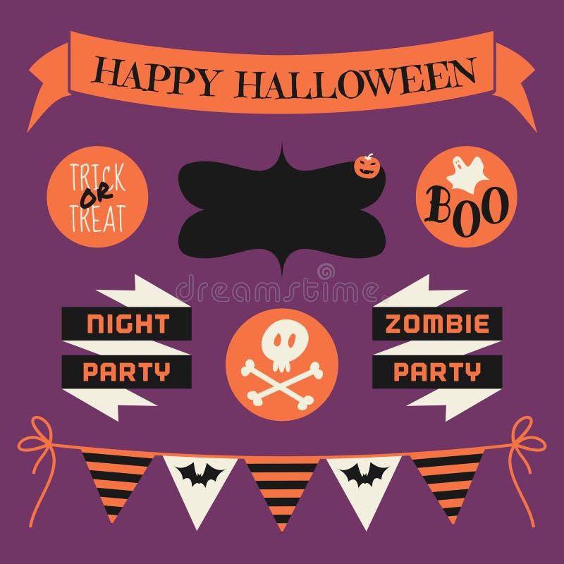 Insieme di elementi di progettazione di Halloween illustrazione vettoriale