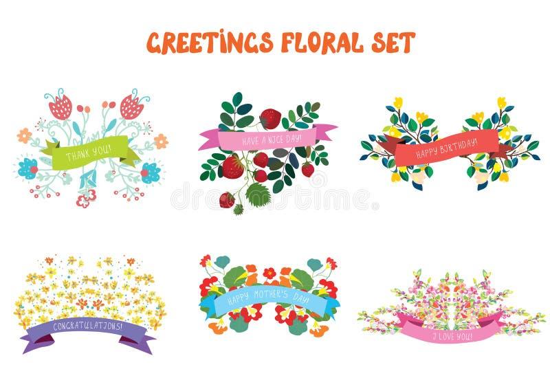 Insieme di elementi di progettazione floreale con i nastri per le cartoline d'auguri royalty illustrazione gratis