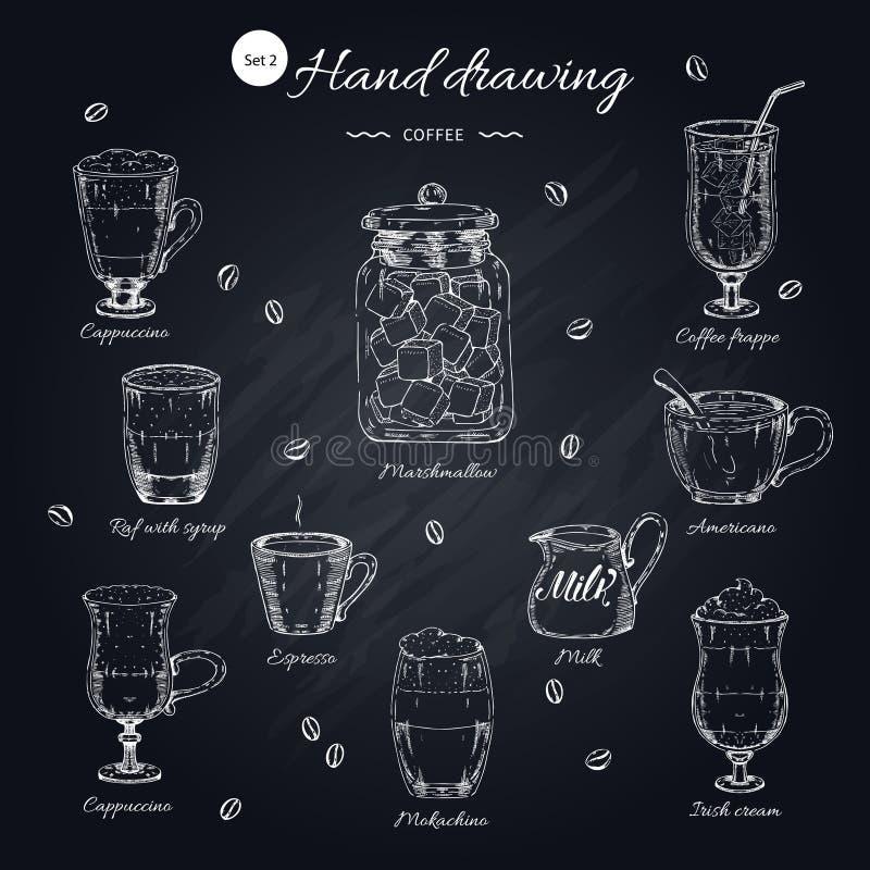 Insieme di elementi disegnato a mano del caffè illustrazione di stock