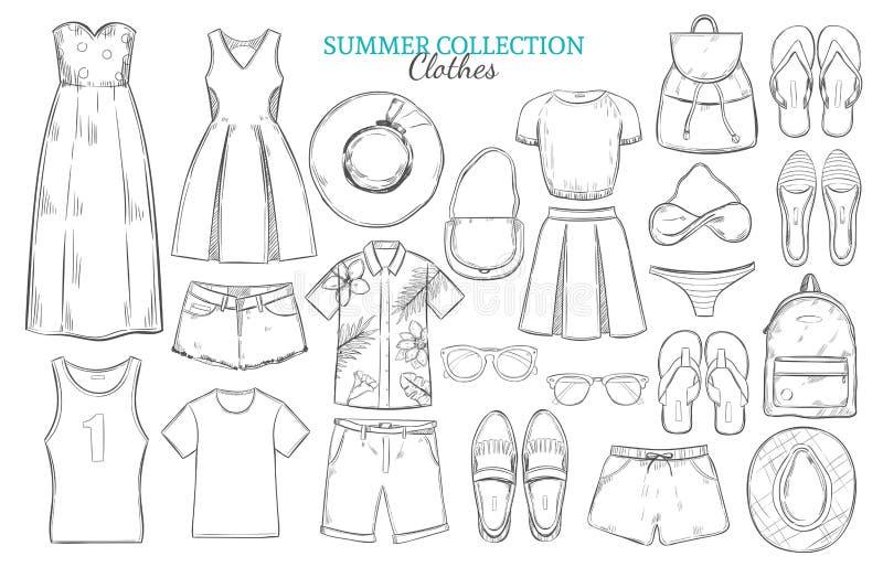 Insieme di elementi disegnato a mano del guardaroba di estate illustrazione di stock
