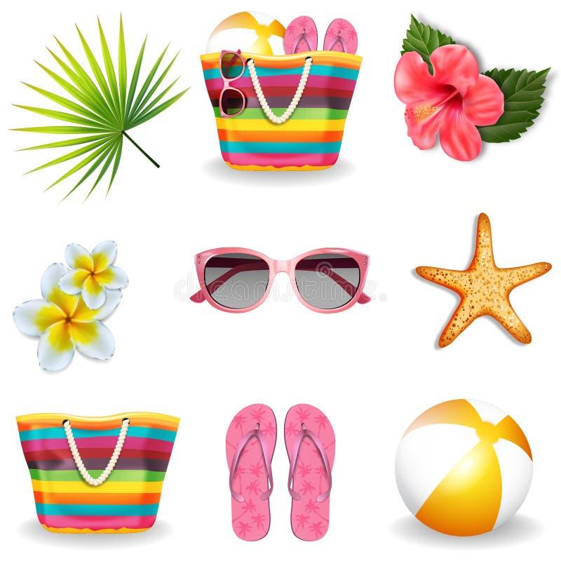 Insieme di elementi di estate della spiaggia Vettore royalty illustrazione gratis