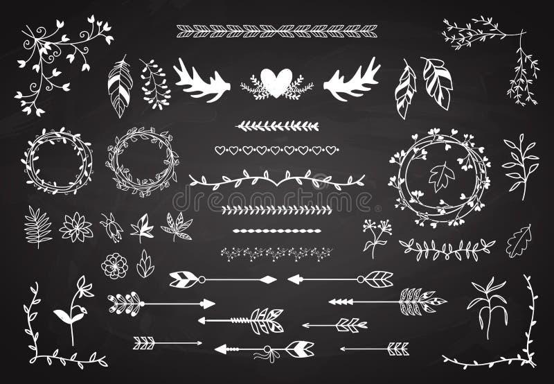 Insieme di elementi floreale di boho illustrazione di stock