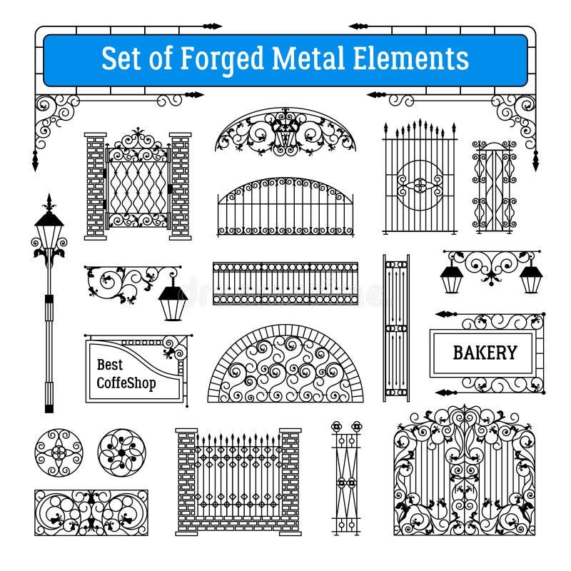 Insieme di elementi forgiato del metallo illustrazione vettoriale
