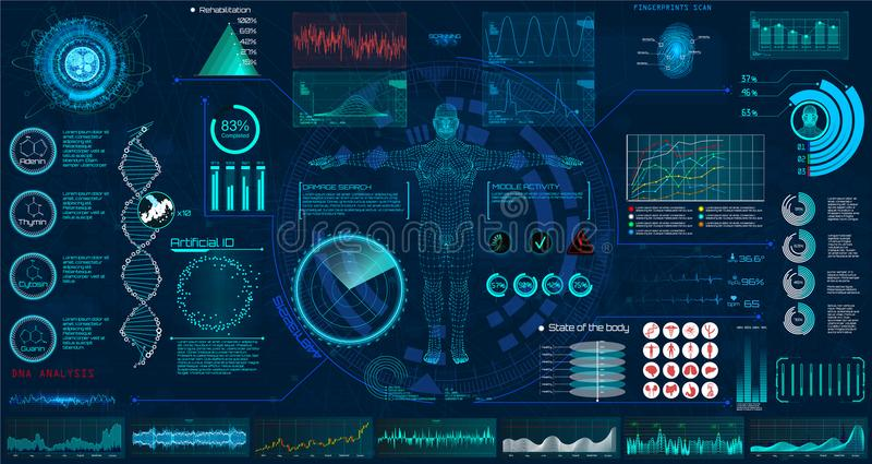 Insieme di elementi di HUD dell'esame medico Interfaccia illustrazione di stock