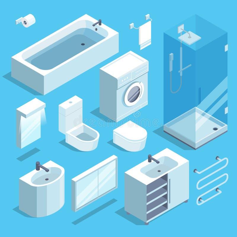 Insieme di elementi isometrico della mobilia dell'interno del bagno Illustrazioni di vettore illustrazione di stock