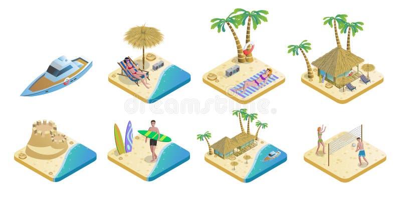 Insieme di elementi isometrico della spiaggia di estate royalty illustrazione gratis