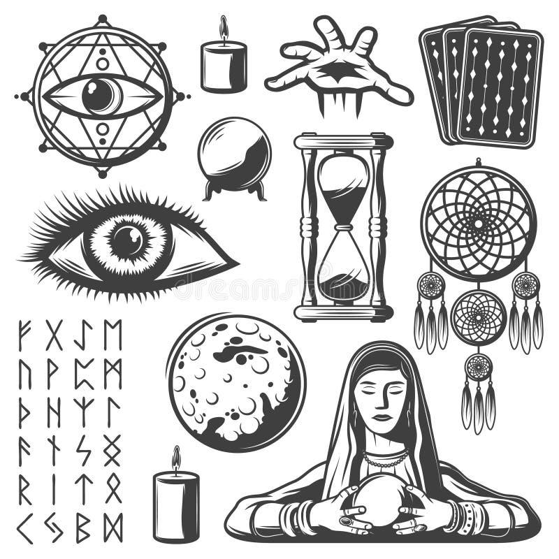 Insieme di elementi mistico d'annata illustrazione di stock