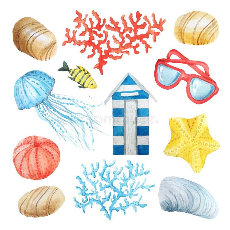 Insieme di elementi nautico del mare dell'acquerello illustrazione vettoriale