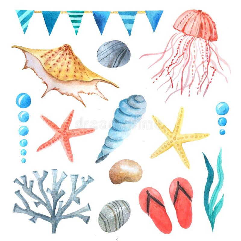 Insieme di elementi nautico del mare dell'acquerello royalty illustrazione gratis
