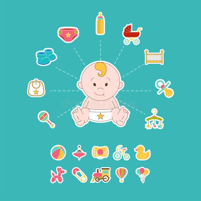 Insieme di elementi neonato di scarabocchio Illustrazione sorrisa di vettore del bambino Bambini felici Stampa del bambino illustrazione vettoriale