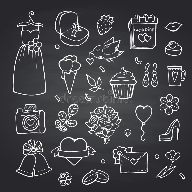 Insieme di elementi di nozze di scarabocchio di vettore sull'illustrazione nera del fondo della lavagna royalty illustrazione gratis