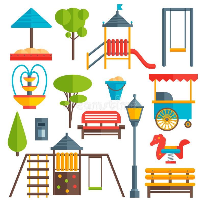 Insieme di elementi piano del parco della città illustrazione di stock