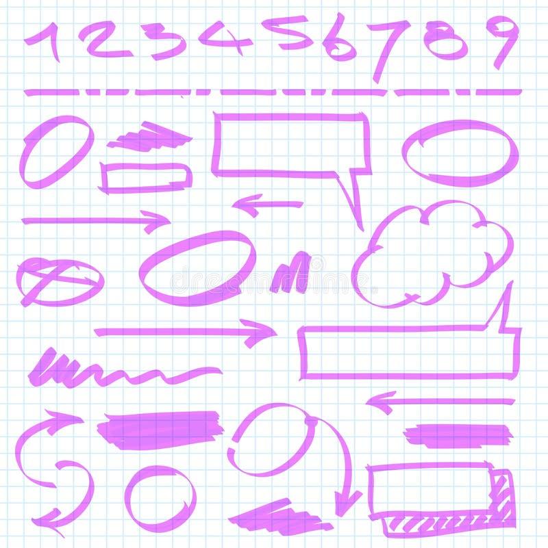 insieme di elementi di progettazione dell'evidenziatore illustrazione vettoriale