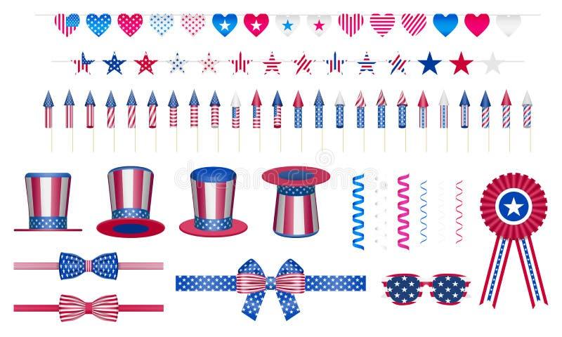 Insieme di elementi di progettazione per il partito di festa di celebrazione degli S.U.A. fotografie stock