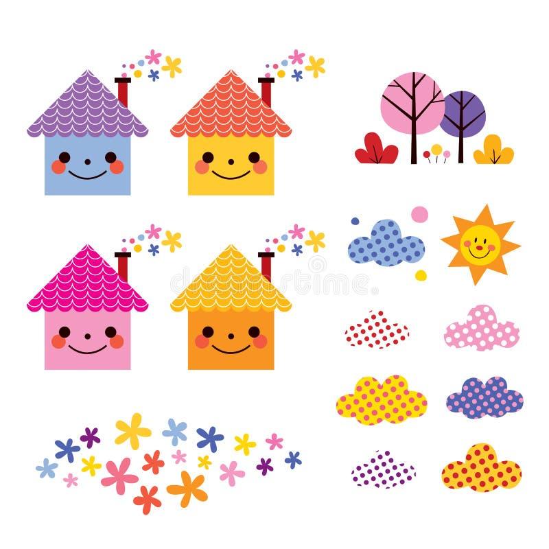 Insieme di elementi sveglio di progettazione dei bambini delle case royalty illustrazione gratis