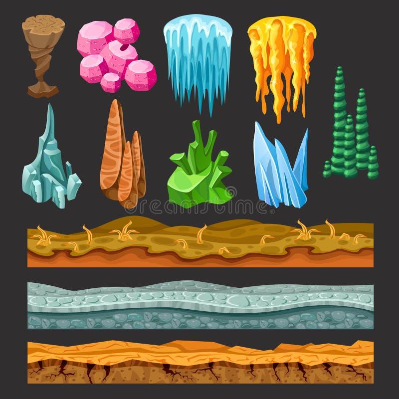 Insieme di elementi variopinto del paesaggio del gioco illustrazione di stock