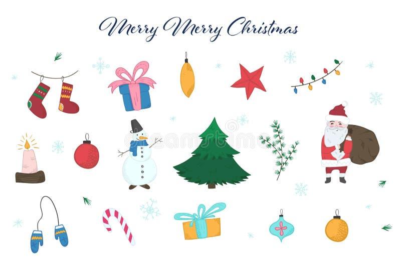 Insieme di elementi variopinto sveglio di Natale di scarabocchio royalty illustrazione gratis