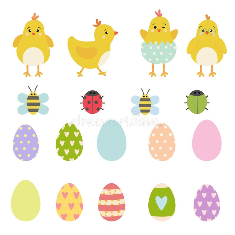 Insieme di elementi di vettore di Pasqua dei caratteri gialli del pollo della molla, della coccinella sveglia, dello scarabeo e d royalty illustrazione gratis