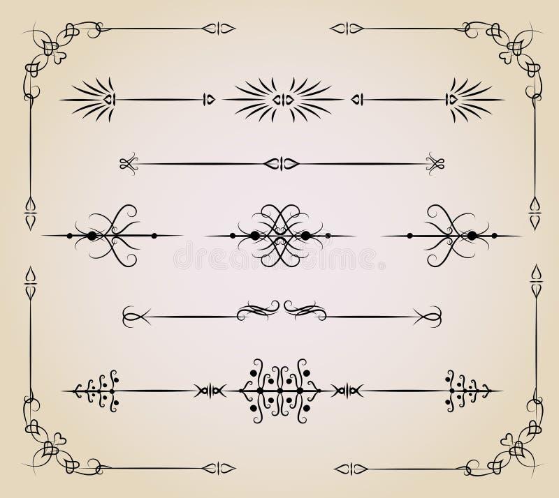 Insieme di elemento di disegno dell'annata illustrazione vettoriale