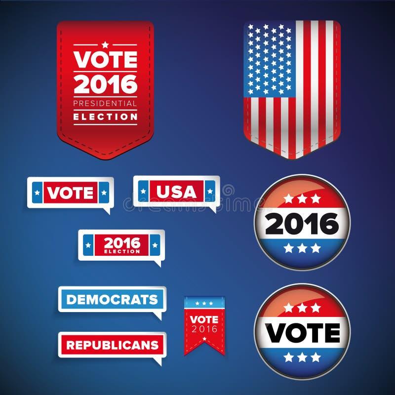 Insieme di elezioni presidenziali e di voto illustrazione vettoriale