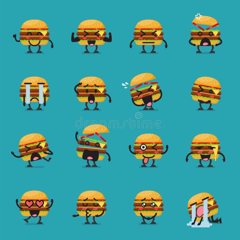 Insieme di emoji del carattere dell'hamburger illustrazione vettoriale