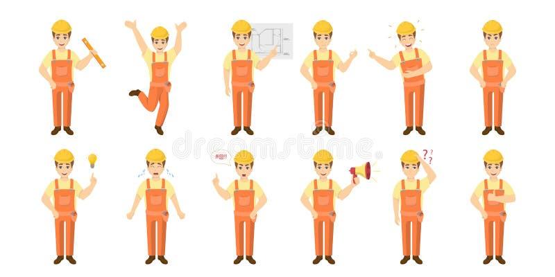 Insieme di emoji del lavoratore illustrazione vettoriale