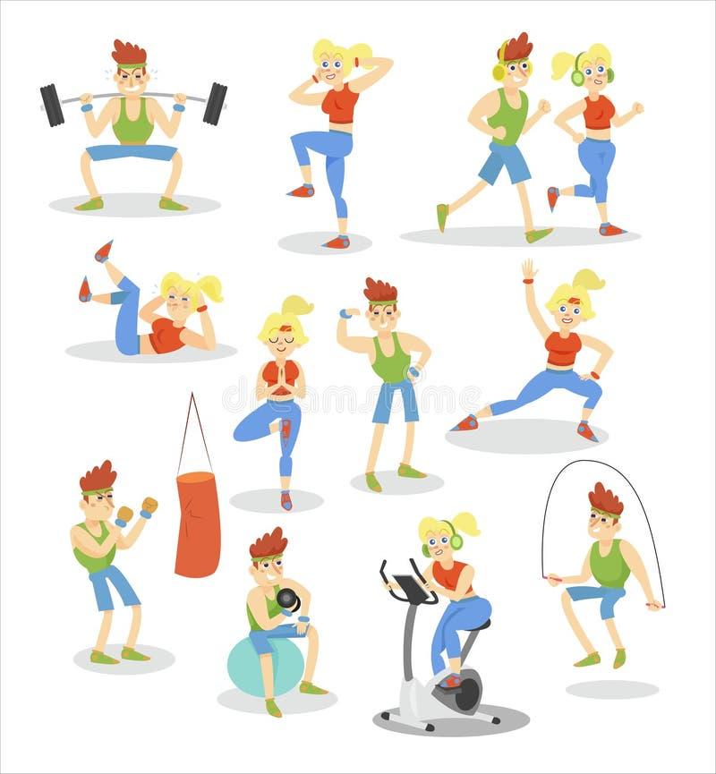 Insieme di esercitazione della donna e dell'uomo, coppia di forma fisica che fa esercizio nelle illustrazioni di vettore del fume royalty illustrazione gratis