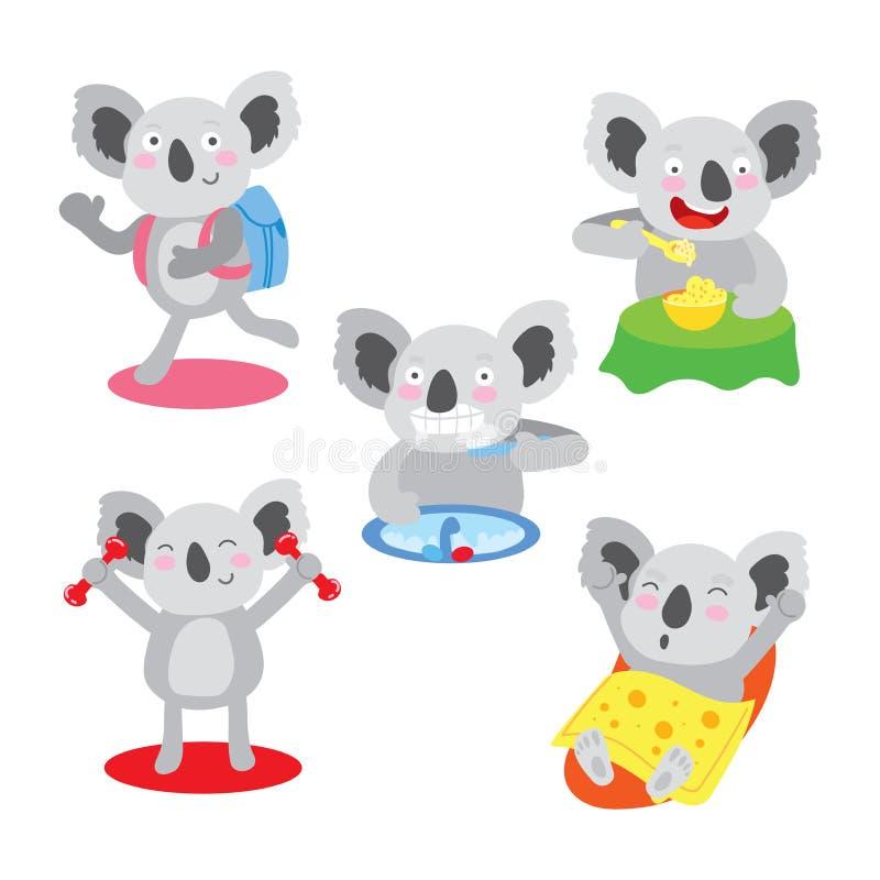 Insieme di esercizio regolare sano di mattina sveglia della koala illustrazione vettoriale