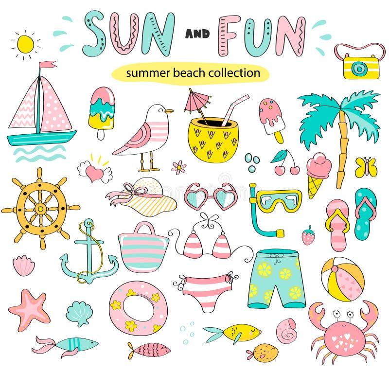 Insieme di estate del sole e degli elementi disegnati a mano di divertimento royalty illustrazione gratis