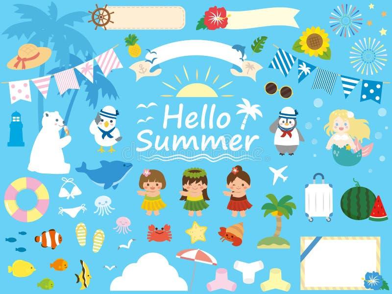 Insieme di estate illustrazione vettoriale