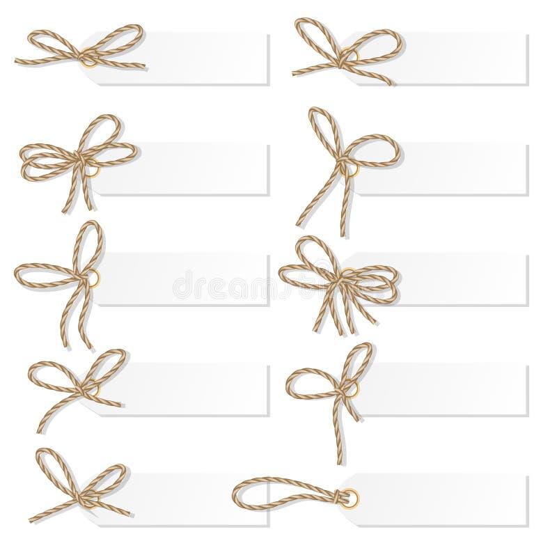 Insieme di etichetta con gli archi della corda illustrazione vettoriale