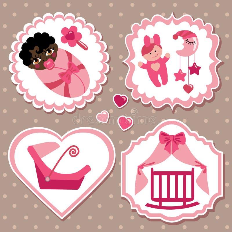 Insieme di etichetta con gli elementi per la ragazza di neonato del mulatto royalty illustrazione gratis