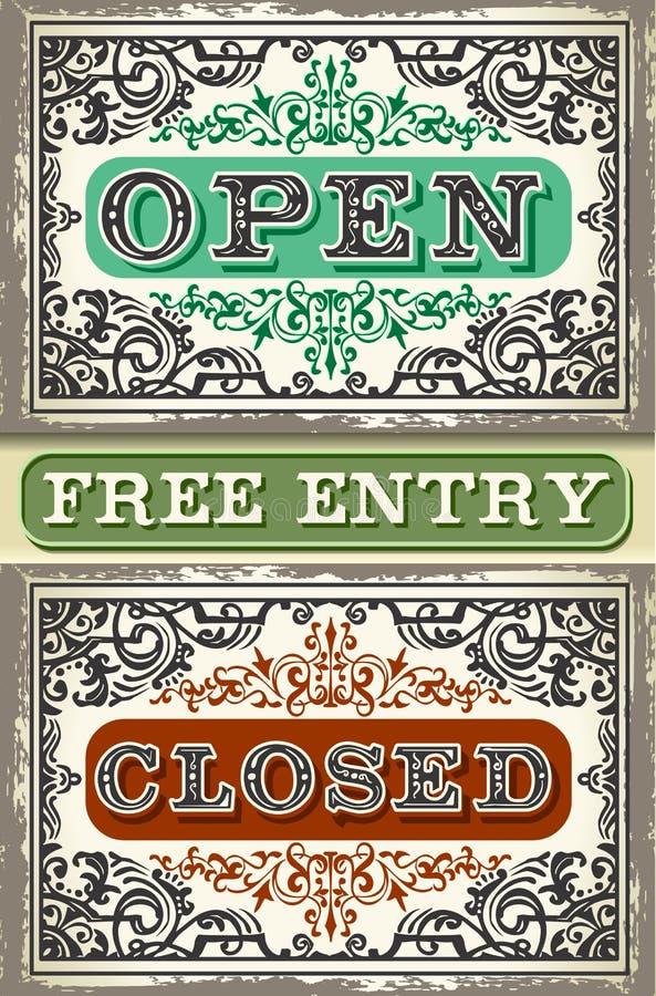 Insieme di etichetta d'annata aperto, entrata chiusa e libera royalty illustrazione gratis