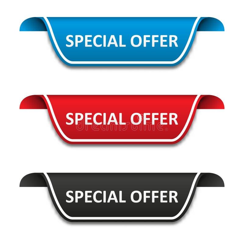 Insieme di etichetta dell'etichetta di offerta speciale Distintivo del nastro di attenzione Illustrazione di vettore royalty illustrazione gratis