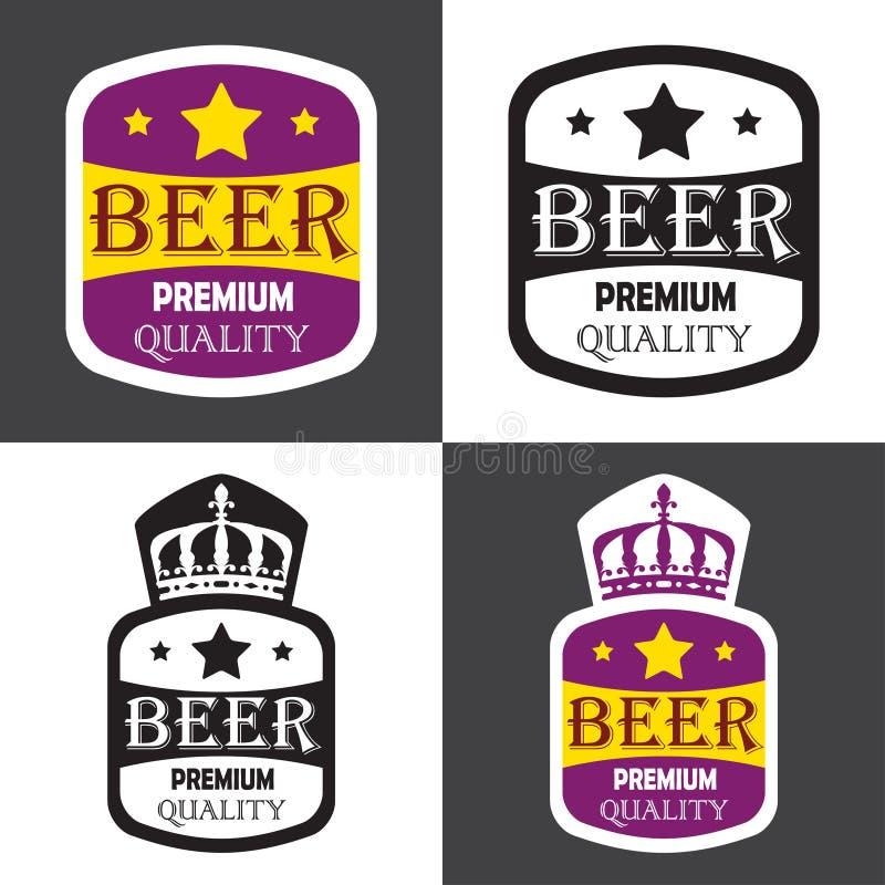 Insieme di etichetta della birra Vector l'illustrazione con il segno premio, le stelle e la corona di qualità illustrazione di stock