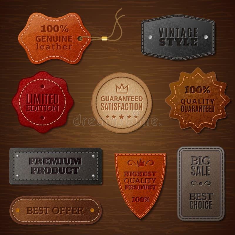 Insieme di etichetta di cuoio illustrazione di stock